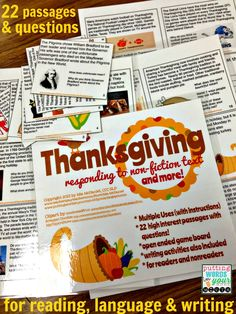 Engaging historical and pop culture passages all about Thanksgiving - with passages, questions, writing prompts...and even a game...included!
