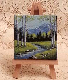 Miniature painting of springtime in the Rocky by WindOnThePrairie, $25.00