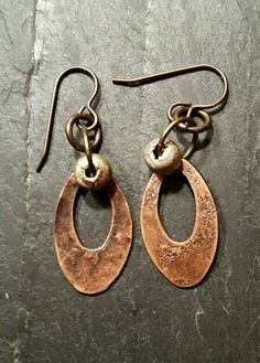 Copper Hoop Dangle Earrings - New