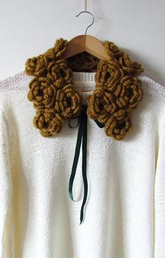 Crochet Rose Collar - Handmade Flower Collar - Hand Knit Golden Collar - Ready To Ship
