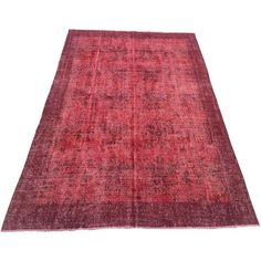 "Red Turkish Overdyed Rug - 6'8"" X 10'3"" ($1,500) ❤ liked on Polyvore featuring home, rugs, contemporary handmade rugs, kilim rugs, patterned area rugs, hand woven wool rugs, wool kilim rug and turkish kilim rugs"