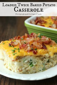 This Loaded Twice Baked Potatoes Casserole is delicious, easy to make, and full of bacon. Try my secret trick for amazing texture!  I serve this all the time as a side dish or main dish.  It is also a favorite of ours for holiday dinners!