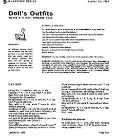 Doll Knitting Pattern Clothes for Teenage Doll Vintage. Trousers and Jacket Doll Knitting Pattern Doll's outfit patterns including poncho, bikini and french berets, striped top and trousers. Vintage knitting patterns for coats. Sewing Barbie Clothes, Knitting Dolls Clothes, Barbie Clothes Patterns, Baby Doll Clothes, Clothing Patterns, Crochet Clothes, Crochet Barbie Patterns, Crochet Doll Dress, Skirt Patterns Sewing