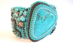 Turquoise bead embroidery cuff bracelet, statement bracelet, beaded bracelet, cabochon bracelet, handmade jewelry, holiday gift.