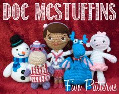 Doc McStuffins Crochet Pattern Bundle - Five for $20 (Patterns for Doc, Stuffy, Chilly, Hallie and Lambie available separately, too). Finally learned to pin from my blog: http://crochetfordays.wordpress.com/2014/01/20/doc-mcstuffins-bundle-package-discount-deal-by-popular-demand-doc-stuffy-lambie-chilly-hallie Amigurumi Doll Dolls
