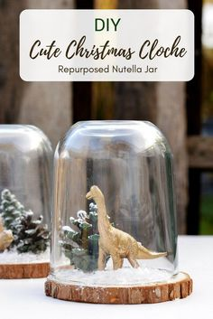 Easy To Make Super Cute Christmas Cloche Pillar Box Blue Add some fun to your Christmas decorations by repurposing a Nutella jar and making a super cute min Christmas Cloche (dinosaur terrarium). Popsicle Stick Christmas Crafts, Holiday Crafts, Fun Crafts, Christmas Bells, Christmas Art, Christmas Projects, Deco Dyi, Winter Diy, Dinosaur Crafts