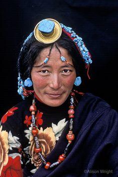Tibetan woman wearing turquoise, Kham Eastern Tibet., 2004