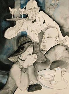 ~ Jeanne Mammen ~ German artist, 1890-1976: Im Café, c. 1927
