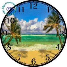 Two Palm Trees on a Sandy Beach Art - -DIY Digital Collage - DIA for Clock Face Art - Crafts Projects, Green Ocean Water by CocoPuffsDesigns on Etsy Printable Crafts, Printables, Art Crafts, Arts And Crafts, Clock Clipart, American Flag Art, Green Ocean, Clock Faces, Scroll Saw Patterns