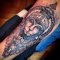 Ape tattoo God Tattoos, 3 Tattoo, Thai Tattoo, Tattoo Drawings, Tatoos, Hanuman Tattoo, Spirit Tattoo, Shiva Hindu, Piercings