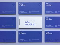 The new Co-motion business cards have arrived, and they are beautiful. Big thanks to Mama's Sauce for doing their thing on this project.  Front: Letterpress + Clear Foil Back: Screenprint + Clear F...