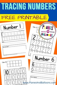Practice writing numbers 1-10 with these tracing worksheets for preschool, pre-k, and kindergarten! Children will trace, write and draw pictures and color ten frames too. #kindergarten #numbers #planesandballoons Tracing Worksheets, Free Printable Worksheets, Kindergarten Worksheets, Worksheets For Kids, Math Activities, Free Printables, Teaching Numbers, Numbers Preschool, Writing Numbers