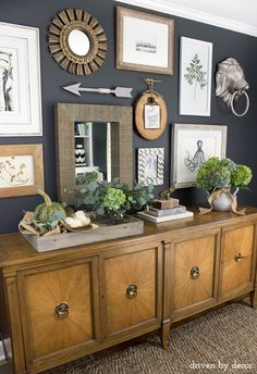 Eclectic+home+office+gallery+wall+with+hydrangeas+and+pumpkins+for+fall