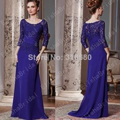 Elegant Floor Length Scoop Neckline 3/4 Sleeve Lace Bodice Royal Purple Chiffon  Evening Gown Dress For Mother Of The Bride US $155.00