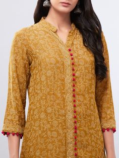 Buy Mustard Yellow Hand Block Printed Muslin Cotton Suit with Embroidered Dupatta - Set of 3 online at Theloom