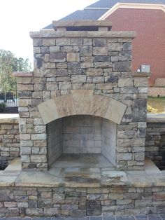 Outdoor Stone Fireplace with Square Hearth