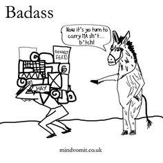 30 Days of Badass: Day 3  Badass Donkey. http://mindvomit.co.uk. #comics #illustration #webcomics