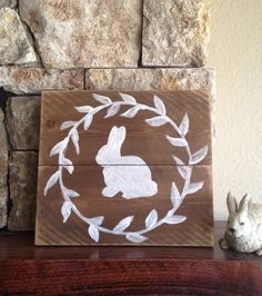 Bunny Silhouette   Distressed Wood Sign by elhdesign77 on Etsy