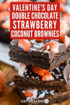 This recipe for Double Chocolate Strawberry Coconut Brownies is delicious, dense, and a healthier spin on everybody's favorite dessert! This recipe has no flour, granulated sugar, or butter! It's a very clean dessert- it's gluten-free, grain-free, soy-free, vegetarian and paleo friendly! Everybody can enjoy this–and EVERYBODY will love it on Valentine's Day!