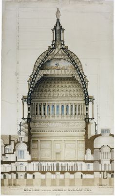 1859 cross-section drawing of the dome and supporting structure by Thomas U. Walter