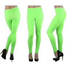 Women's Seamless Ankle Length Leggings ($8.99) ❤ liked on Polyvore featuring pants, leggings, neon lime, white legging pants, neon pants, white trousers, lime green leggings and seamless leggings