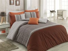 Dose Of Modern Spencer Ranforce Single Quilt Cover Set (ES) - Orange Brown Grey Beige Single Quilt, Grey And Beige, Quilt Cover Sets, Orange Brown, Comforters, Duvet Covers, Quilts, Blanket, Bed