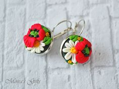 Wild flowers romantic earrings  Polymer Clay by MoirasGifts