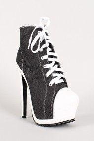 Need these: Denim Platform Sneaker Bootie