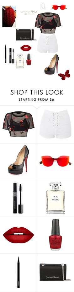 """BOLD RED BLACK AND WHITE"" by babiegirlmaw ❤ liked on Polyvore featuring Topshop, Christian Louboutin, RetroSuperFuture, Christian Dior, Chanel, Forever 21, OPI, MAC Cosmetics and Giorgio Armani"