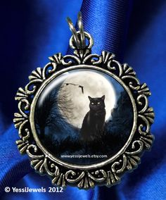 Black Cat Moon Art Pendant Cat Tree Raven Crows and by YessiJewels, $8.95