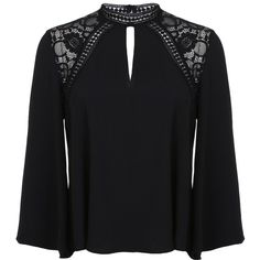 Miss Selfridge Black Lace High Neck Blouse (65 BRL) ❤ liked on Polyvore featuring tops, blouses, black, long sleeve blouse, high neck lace top, high neck top, lace top and long sleeve keyhole top