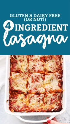 Four Ingredient Lasagna - This EASY lasagna recipe takes just ingredients and tastes amazing. Don't miss our tips for making this a gluten free, dairy free dinner! Dairy Free Recipes For Kids, Lactose Free Recipes, Dairy Free Options, Lactose Free Dinners, Gluten Free Recipes Videos, Healthy Recipes, Crockpot Recipes, Easy Lasagna Recipe, Lasagna Recipes
