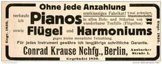 Original-Werbung/ Anzeige 1913 - PIANOS / FLÜGEL / HARMONIUMS / CONRAD KRAUSE - BERLIN - ca. 110 x 45 mm