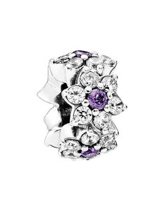 Pandora Spacer - Sterling Silver & Cubic Zirconia Forget Me Not, Moments Collection