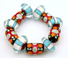 Set of Colorful Handmade Artisan Lampwork Glass Beads by blancheandguy on Etsy