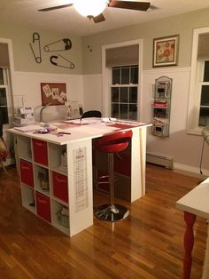 new craft room, craft rooms, home decor, storage ideas, Storage island