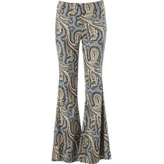 Free People Dark Paradise Pull-on Flare Pant ($128) ❤ liked on Polyvore featuring pants, free people bell bottoms, flare pants, paisley print pants, bell bottom trousers and bohemian pants