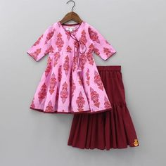 Pre Order: Pink Printed Kurta With Maroon Sharara Set Baby Girl Dress Patterns, Baby Boy Dress, Baby Dress Design, Baby Girl Party Dresses, Dresses Kids Girl, Girl Outfits, Kids Dress Wear, Kids Gown, Baby Girl Fashion