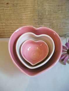 Heart Bowls Set of 3 Handmade Shades of by SuzannesPotteryFarm, via Etsy.
