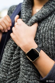 A stainless steel frame with a gold satin finish helps your stats shine. | Fitbit Blaze Accessories: Slim Black Band + Gold Frame
