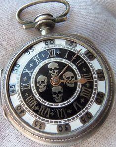 Tattoo inspiration... Antique Skull Watch #skull #skulls #obsessedwithskulls #obsessed-with-skulls