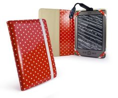 """Tuff-Luv Book Style Slim fabric case cover for Amazon Kindle 4 / 6"""" E-Ink - Red Polka-Hot + Bright Spark Rechargeable USB Light by Tuff-luv. $38.49. Save 30%!"""