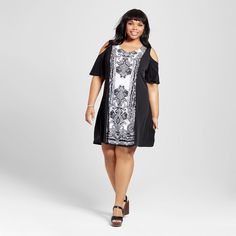 Women's Plus Size Placed Print Cold Shoulder Shift Dress Midnight Black 3X - Sami & Dani