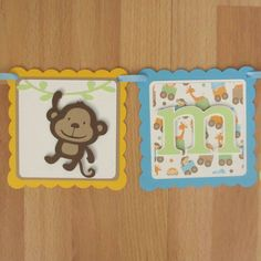 Jungle Zoo Animal Baby Shower Birthday Banner Sign with Lion Monkey Giraffe Elephant - Blue, Green, Yellow, Beige
