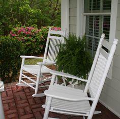 Cracker Barrel White Rocking Chairs_Boston Ferns_Front Porch