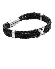 Black Woven Nappa Leather and Silver Cross Bracelet for Men - Forziani
