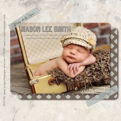 Baby Boy Birth Announcement  clean modern by icingonthepaper