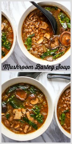 The best #mushroom soup ever. Incredibly flavourful with three kinds of mushrooms, and nutrient powerhouse barley and kale.