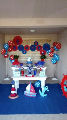 Sailor Baby Showers, Mickey Baby Showers, Baby Mickey, Mickey Birthday, Boy Birthday Parties, Baby Boy Shower, 2nd Birthday, Nautical Baby Shower Decorations, Nautical Party