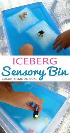 An Iceberg Sensory Bin That Kids Will Love This Summer! : This iceberg sensory bin makes a GREAT summertime activity for kids! And it's so easy to make too! What an awesome idea for sensory play! Sensory Activities, Sensory Play, Toddler Activities, Learning Activities, Sensory Diet, Winter Preschool Activities, Fall Sensory Bin, Toddler Sensory Bins, Learning Tools